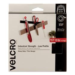 Velcro Low-Profile Industrial-Strength Heavy-Duty Fasteners, 1 in x 10 ft, Black