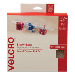 Velcro Sticky-Back Fasteners, Removable Adhesive, 0.75 in x 30 ft, White
