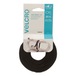 Velcro ONE-WRAP Hook & Loop Ties, 1/4 in x 8 in, Black, 25/Pack