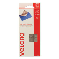 Velcro Sticky-Back Fasteners, Removable Adhesive, 0.63 in dia, Clear, 75/Pack