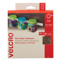 Velcro Sticky-Back Fasteners, Removable Adhesive, 0.75 in x 15 ft, Clear