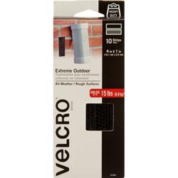 Velcro Extreme Hook & Loop Fasteners, 1 in x 4 in Strip, Black, 10/Pack