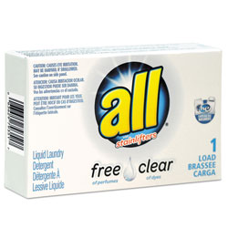 All Free Clear HE Liquid Laundry Detergent, Unscented, 1.6 oz Vend-Box, 100/Carton