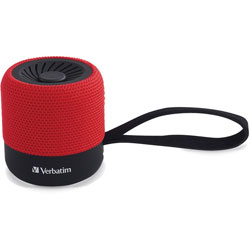 Verbatim Bluetooth Speaker System - Red - 100 Hz to 20 kHz - TrueWireless Stereo - Battery Rechargeable - 1 Pack
