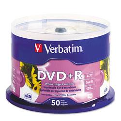 Verbatim Inkjet Printable DVD+R Discs, White, 50/Pack