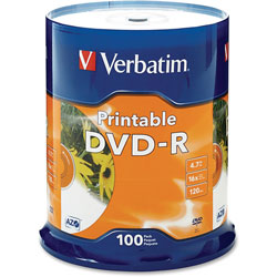 Verbatim DVD-R, 16x, 4.7GB, Inkjet Printable, 100/PK, White