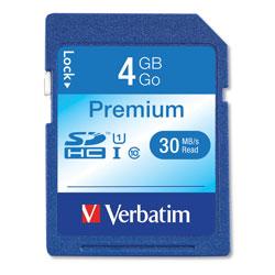 Verbatim 4GB Premium SDHC Memory Card, UHS-I U1 Class 10, Up to 30MB/s Read Speed
