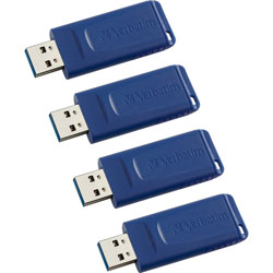 Verbatim USB Flash Drive, Capless, 16GB, 4/CT, Blue