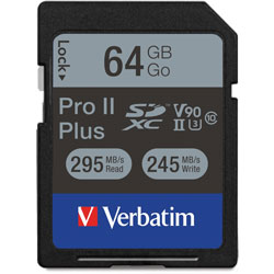 Verbatim Memory Card, SDXC, 64GB, 295 Read/255 Write Speed, Black