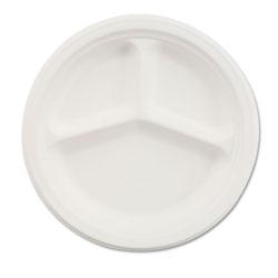 Chinet Paper Dinnerware, 3-Comp Plate, 10 1/4 in dia, White, 500/Carton