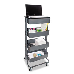 Vertiflex Products Multi-Use Storage Cart/Stand-Up Workstation, 15.25w x 11.25d x 18.5 to 39h, Gray