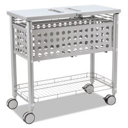 Vertiflex Products Smartworx File Cart, One-Shelf, 29.13w x 14d x 28.38h, Matte Gray