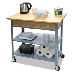 Vertiflex Products Countertop Serving Cart, 35.5w x 19.75d x 34.25h, Silver/Brown