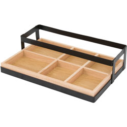Vertiflex Products Condiment Caddy, 6-Compartment, 14 inx9-1/2 inx3-3/10 in, Black/Woodtone
