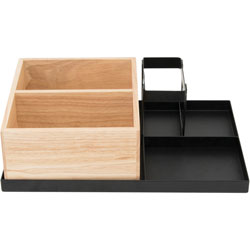 Vertiflex Products Condiment Caddy, 5-Compartment, 9-1/2 inWx14 inLx4 inH, Black/Woodtone