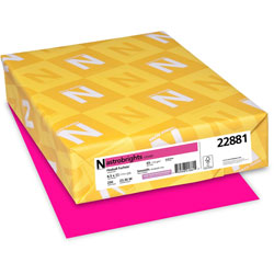 "Wausau Papers Paper, 65 lb., 8 1/2""x11"", Fireball Fuchsia"