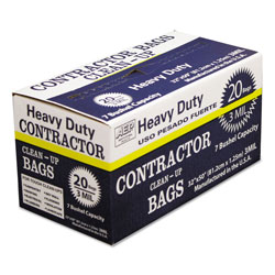 Webster Heavy-Duty Contractor Clean-Up Bags, 60 gal, 3 mil, 32 in x 50 in, Black, 20/Carton