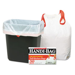 Webster Drawstring Kitchen Bags, 13 gal, 0.6 mil, 24 in x 27.38 in, White, 50/Box