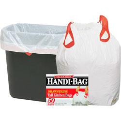 Webster Drawstring Trash Bags, 13 Gal., .69mil, 24 in x 27 in, 6BX/CT, WE