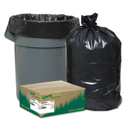 Webster Linear Low Density Recycled Can Liners, 60 gal, 1.25 mil, 38 in x 58 in, Black, 100/Carton