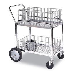 WESCO Wire Office Cart, 2 Shelves, 23.75w x 33.5d x 38.25h, Chrome, 200 lb Capacity