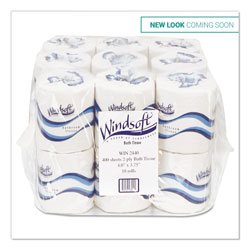 Windsoft Bath Tissue, Septic Safe, 2-Ply, White, 4 x 3.75, 400 Sheets/Roll, 18 Rolls/Carton