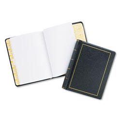 Wilson Jones Looseleaf Minute Book, Black Leather-Like Cover, 250 Unruled Pages, 8 1/2 x 11