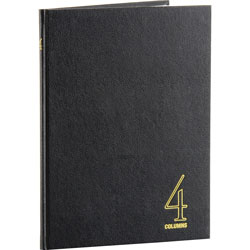 """Wilson Jones 4 Column Book, 80 Pages, 9 1/4""""x7"""", Black"""