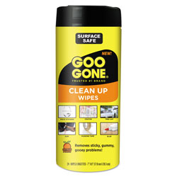 Goo Gone® Clean Up Wipes, 8 x 7, Citrus Scent, White, 24/Canister
