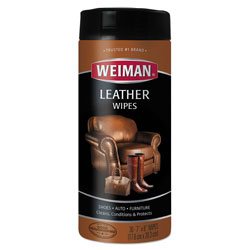 Weiman Products Leather Wipes, 7 x 8, 30/Canister, 4 Canisters/Carton