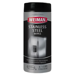 Weiman Products Stainless Steel Wipes, 7 x 8, 30/Canister