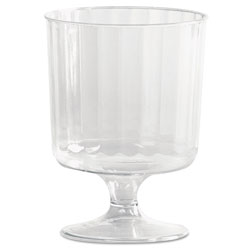 WNA Comet Classic Crystal Plastic Wine Glasses on Pedestals, 5 oz., Clear, Fluted, 10/Pack