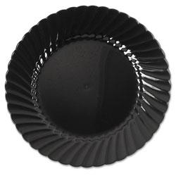 WNA Comet Classicware Plastic Plates, 6 in Dia., Black, Round, 10 Plates/Pack