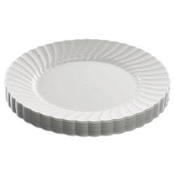 WNA Comet Classicware Plastic Dinnerware Plates, 9 in Dia, White, 12/Pack