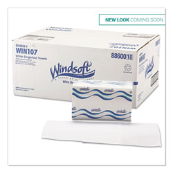 Windsoft Singlefold Paper Towels, 1-Ply, 9 9/20 x 9, White, 250/Pack, 16 Packs/Carton