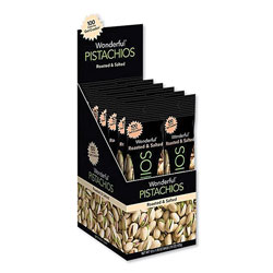 Paramount Farms Wonderful Pistachios, Roasted and Salted, 1.25 oz Tube, 12/Box