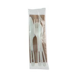 World Centric TPLA Compostable Cutlery, Knife/Fork/Spoon/Napkin, 6 in, White, 250/Carton