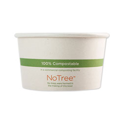 World Centric No Tree Paper Bowls, 4.4 in dia x 2.5 in, 12 oz, Natural, 500/Carton