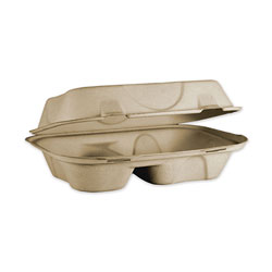 World Centric Fiber Hinged Hoagie Box Containers, 2 Compartments, 9 x 6 x 3, Natural, 500/Carton