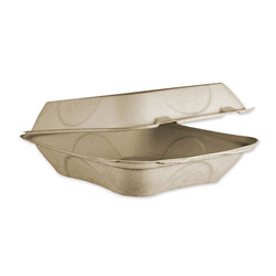 World Centric Fiber Hinged Containers, 8 x 8 x 3, Natural, 300/Carton