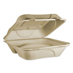 World Centric Fiber Hinged Containers, 3 Compartments, 9 x 9 x 3, Natural, 300/Carton