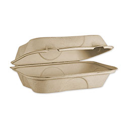 World Centric Fiber Hinged Hoagie Box Containers, 9 x 6 x 3, Natural, 500/Carton