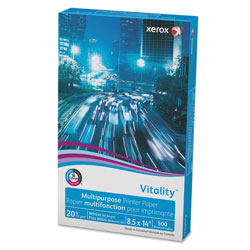 Xerox Vitality Multipurpose Print Paper, 92 Bright, 20lb, 8.5 x 14, White, 500/Ream