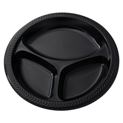 Pactiv 9 in 3-Compartment Plastic Plate, Black