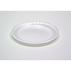 Pactiv Unlaminated Foam Dinnerware, Plate, 6 in Diameter, White, 1,000/Carton