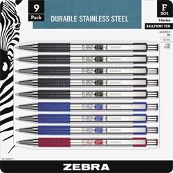 Zebra Ballpoint Pen, Retractable, Refillable, 0.7mm, 9/PK, Black Ink