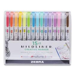 Zebra Pen Mildliner Double Ended Highlighter, Chisel/Bullet Tip, Assorted Colors, 15/Pack