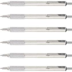 Zebra Ballpoint Pens, Retractable, Stainless Steel, .7mm, 6/BX, Black