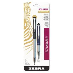Zebra Pen StylusPen Retractable Ballpoint Pen/Stylus, 1mm, Black Ink, Blue/Gray Barrel, Pair