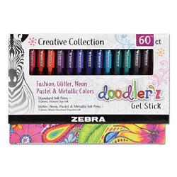 Zebra Pen Doodler'z Gel Stick Pen, Bold 1 mm, Assorted Ink, Assorted Barrels, 60/Pack